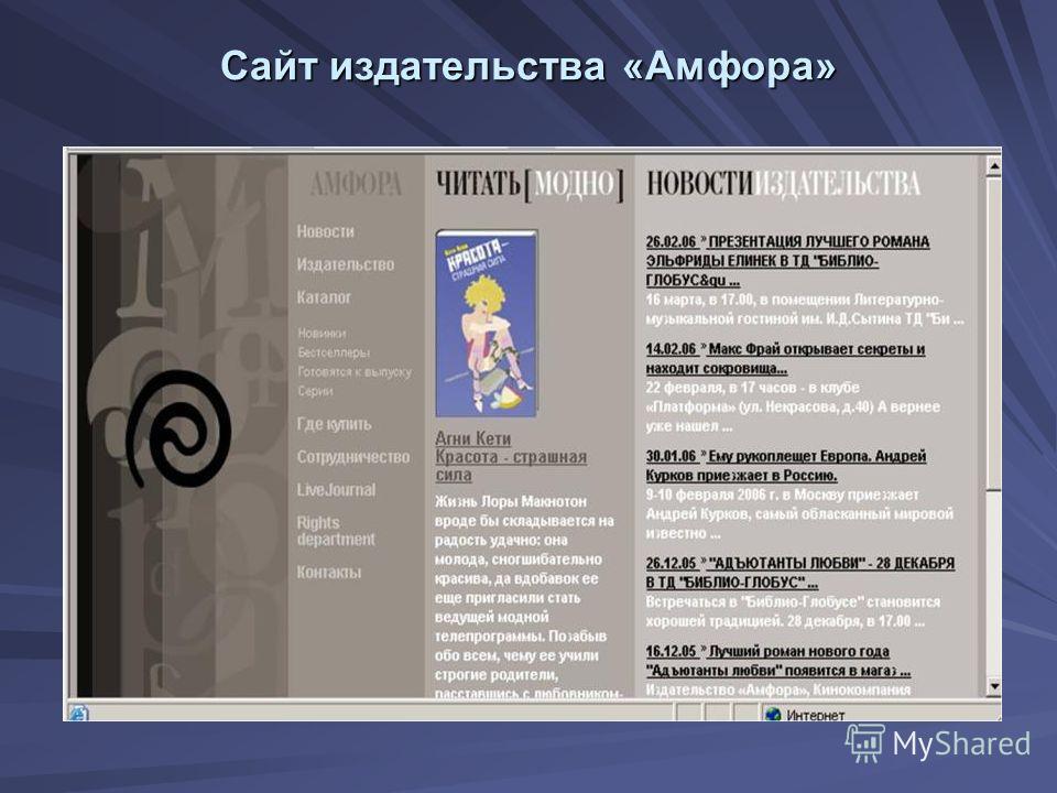 Сайт издательства «Амфора»