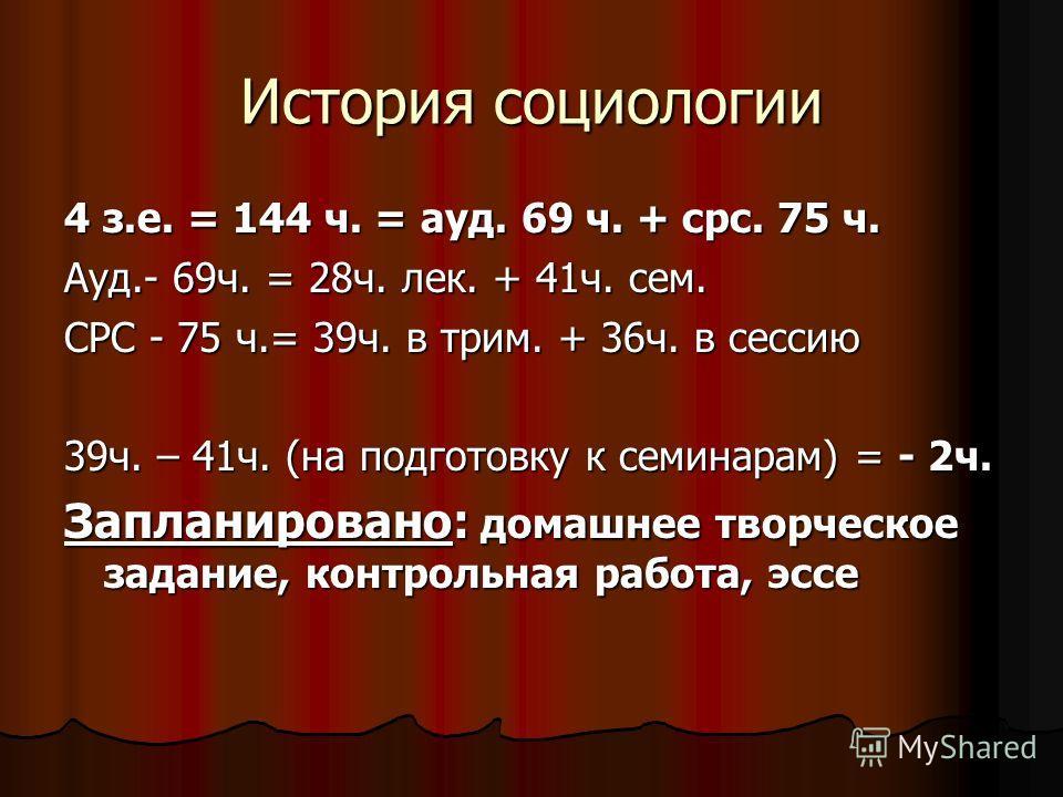 История социологии 4 з.е. = 144 ч. = ауд. 69 ч. + срс. 75 ч. Ауд.- 69ч. = 28ч. лек. + 41ч. сем. СРС - 75 ч.= 39ч. в трим. + 36ч. в сессию 39ч. – 41ч. (на подготовку к семинарам) = - 2ч. Запланировано: домашнее творческое задание, контрольная работа,