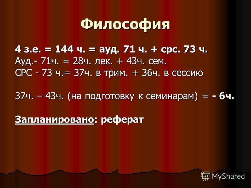 Философия 4 з.е. = 144 ч. = ауд. 71 ч. + срс. 73 ч. Ауд.- 71ч. = 28ч. лек. + 43ч. сем. СРС - 73 ч.= 37ч. в трим. + 36ч. в сессию 37ч. – 43ч. (на подготовку к семинарам) = - 6ч. Запланировано: реферат