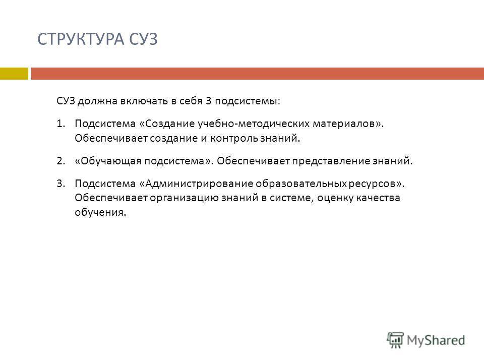 СТРУКТУРА СУЗ СУЗ должна включать в себя 3 подсистемы : 1.Подсистема « Создание учебно - методических материалов ». Обеспечивает создание и контроль знаний. 2. « Обучающая подсистема ». Обеспечивает представление знаний. 3.Подсистема « Администрирова