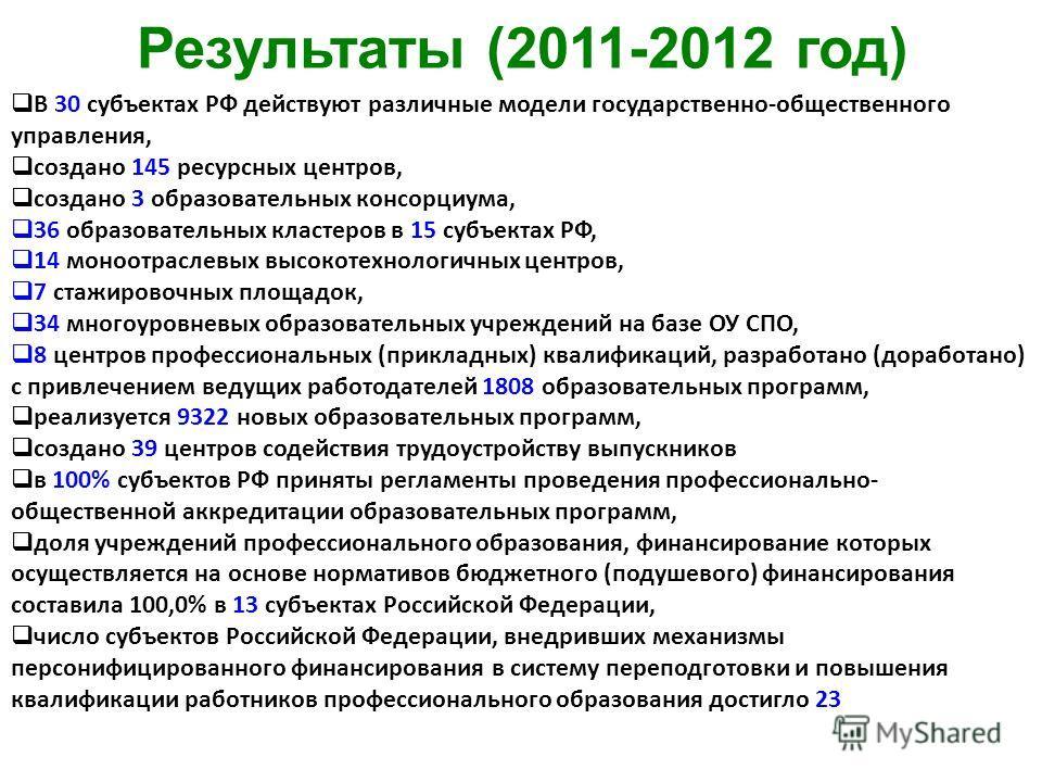 Результаты (2011-2012 год) В 30 субъектах РФ действуют различные модели государственно-общественного управления, создано 145 ресурсных центров, создано 3 образовательных консорциума, 36 образовательных кластеров в 15 субъектах РФ, 14 моноотраслевых в