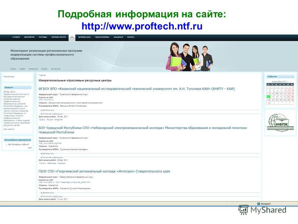Подробная информация на сайте: http://www.proftech.ntf.ru