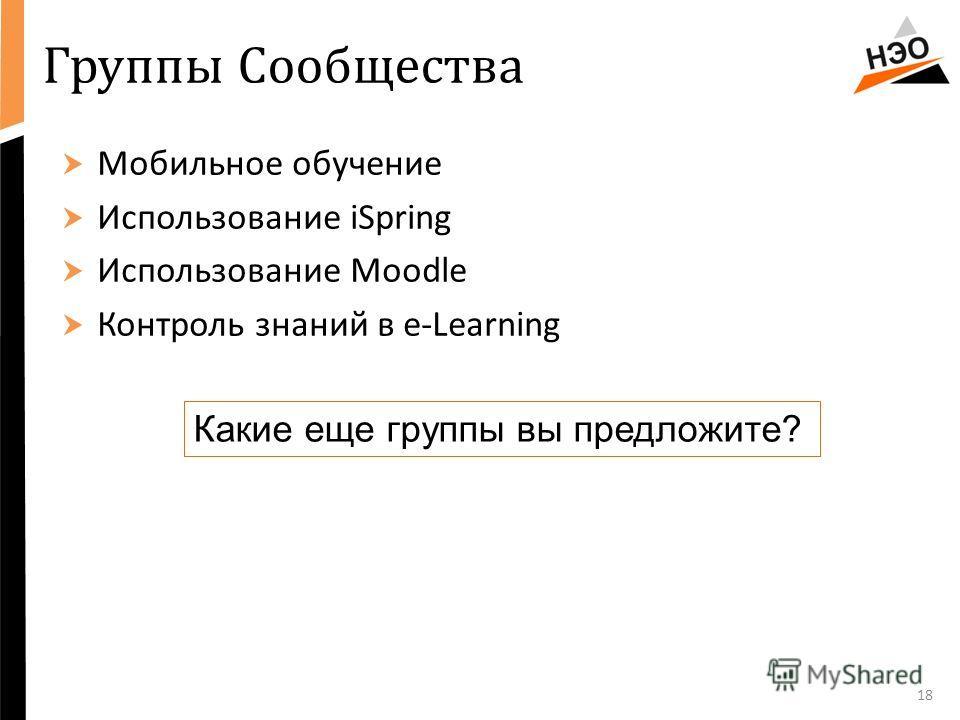 Группы Сообщества Мобильное обучение Использование iSpring Использование Moodle Контроль знаний в e-Learning 18 Какие еще группы вы предложите?
