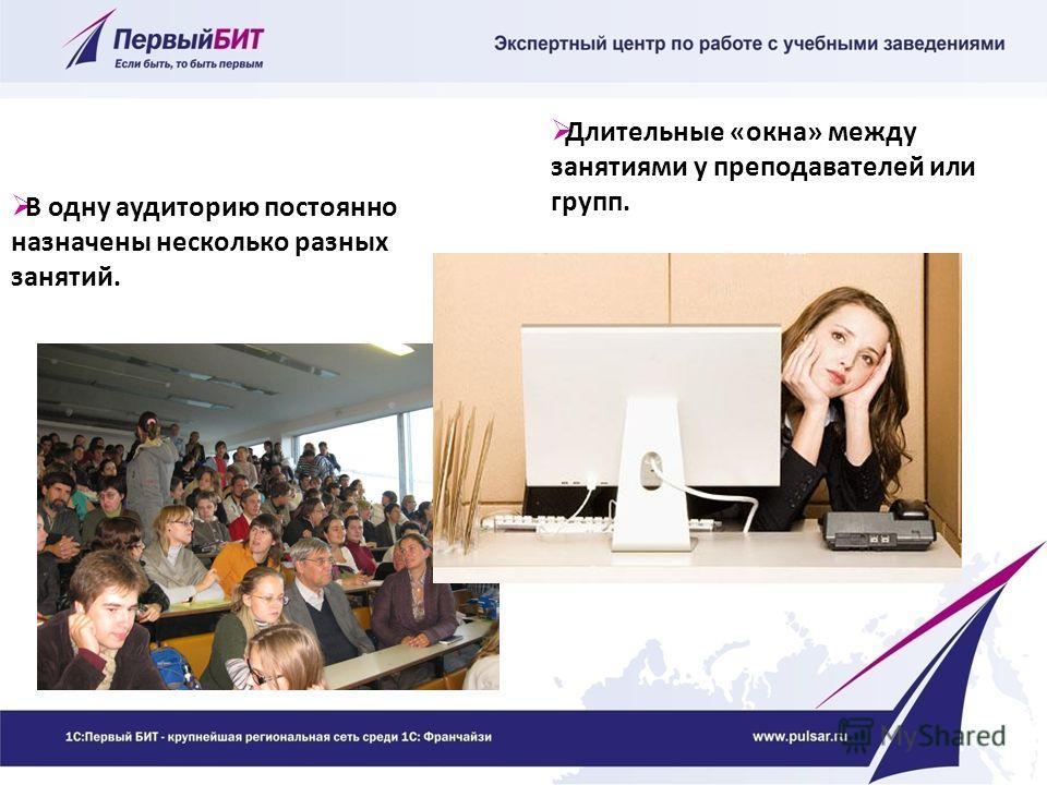 В одну аудиторию постоянно назначены несколько разных занятий. Длительные «окна» между занятиями у преподавателей или групп.