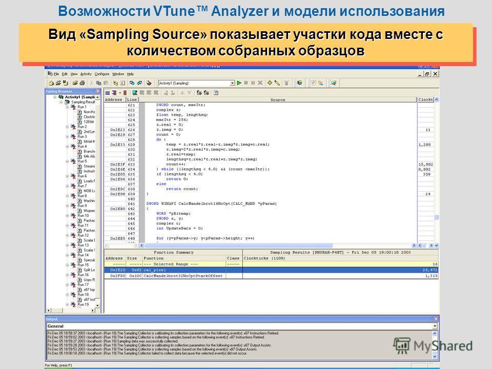 12 Вид «Sampling Source» показывает участки кода вместе с количеством собранных образцов Возможности VTune Analyzer и модели использования