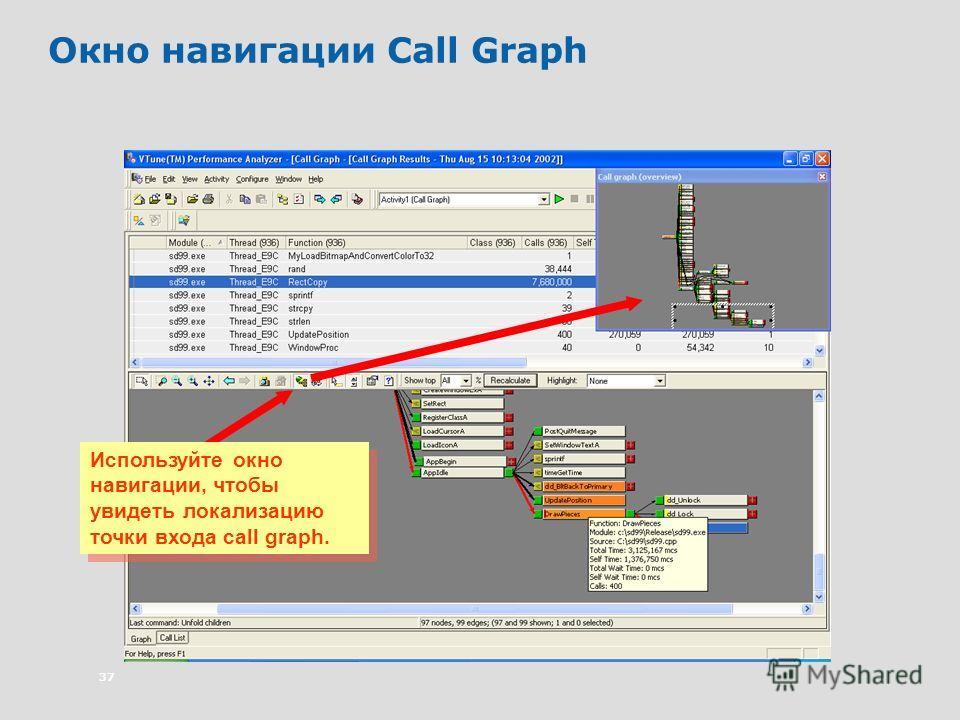 37 Окно навигации Call Graph Используйте окно навигации, чтобы увидеть локализацию точки входа call graph.