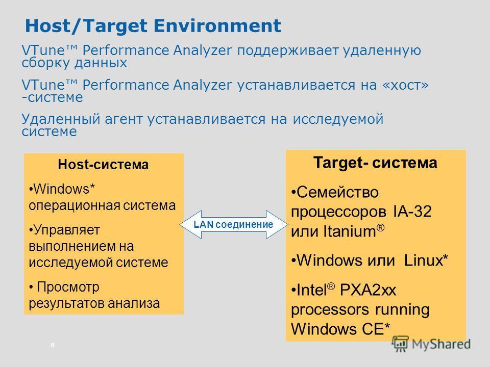 8 Host/Target Environment VTune Performance Analyzer поддерживает удаленную сборку данных VTune Performance Analyzer устанавливается на «хост» -системе Удаленный агент устанавливается на исследуемой системе Host-система Windows* операционная система