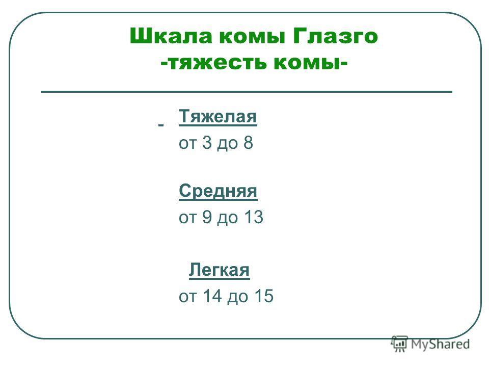 Шкала комы Глазго -тяжесть комы- Тяжелая от 3 до 8 Средняя от 9 до 13 Легкая от 14 до 15
