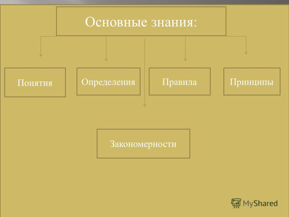 Основные знания: Понятия ОпределенияПравилаПринципы Закономерности