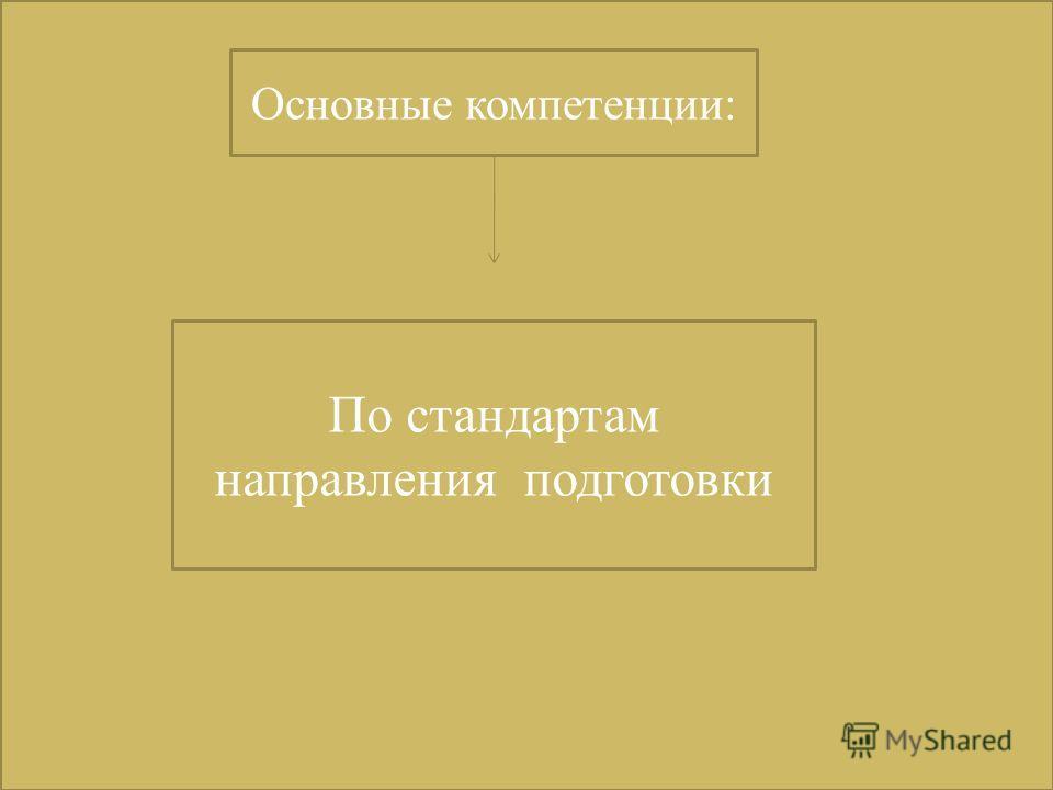 Основные компетенции: По стандартам направления подготовки