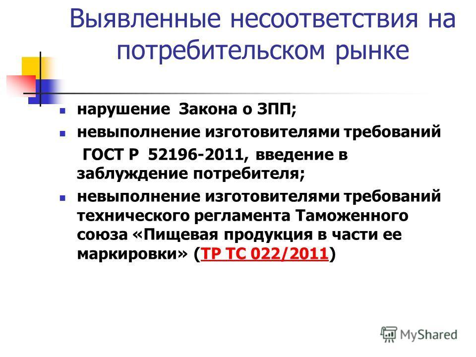 Выявленные несоответствия на потребительском рынке нарушение Закона о ЗПП; невыполнение изготовителями требований ГОСТ Р 52196-2011, введение в заблуждение потребителя; невыполнение изготовителями требований технического регламента Таможенного союза