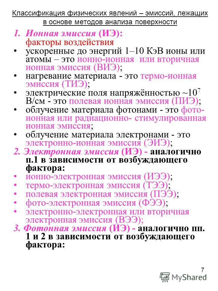 7 Классификация физических явлений – эмиссий, лежащих в основе методов анализа поверхности 1.Ионная эмиссия (ИЭ): факторы воздействия ускоренные до энергий 1–10 КэВ ионы или атомы – это ионно-ионная или вторичная ионная эмиссия (ВИЭ); нагревание мате