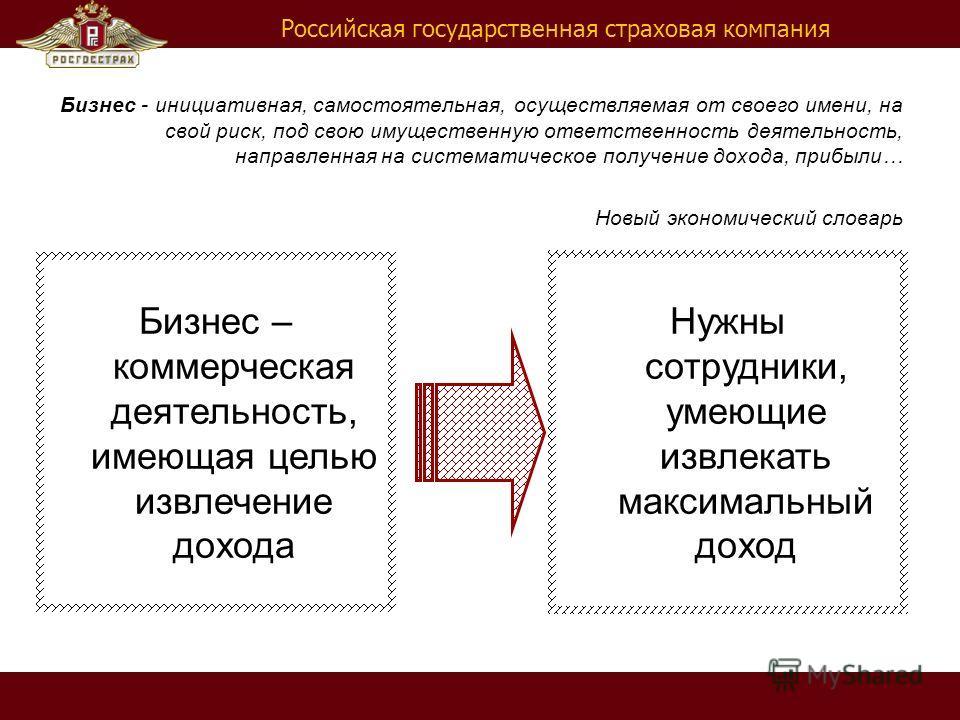 Российская государственная страховая компания Бизнес - инициативная, самостоятельная, осуществляемая от своего имени, на свой риск, под свою имущественную ответственность деятельность, направленная на систематическое получение дохода, прибыли… Новый