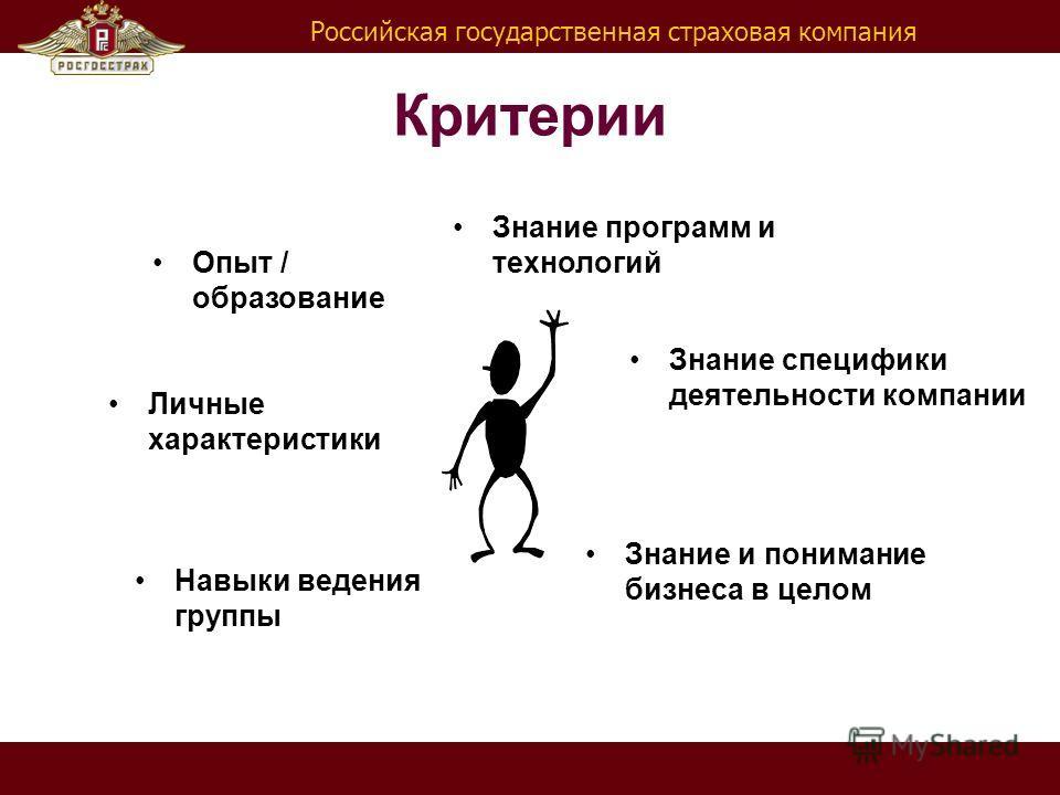 Российская государственная страховая компания Критерии Навыки ведения группы Личные характеристики Знание и понимание бизнеса в целом Знание специфики деятельности компании Опыт / образование Знание программ и технологий