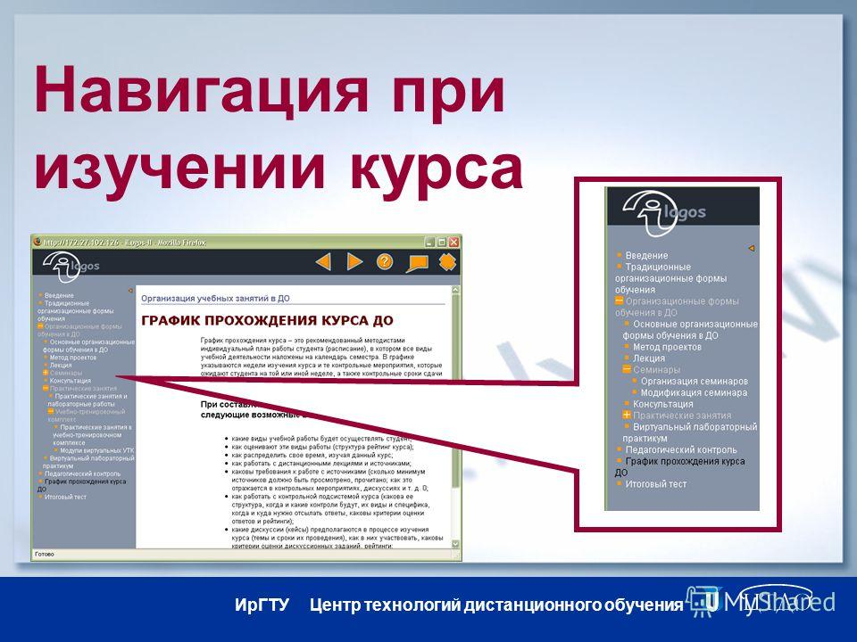 ИрГТУ Центр технологий дистанционного обучения Навигация при изучении курса