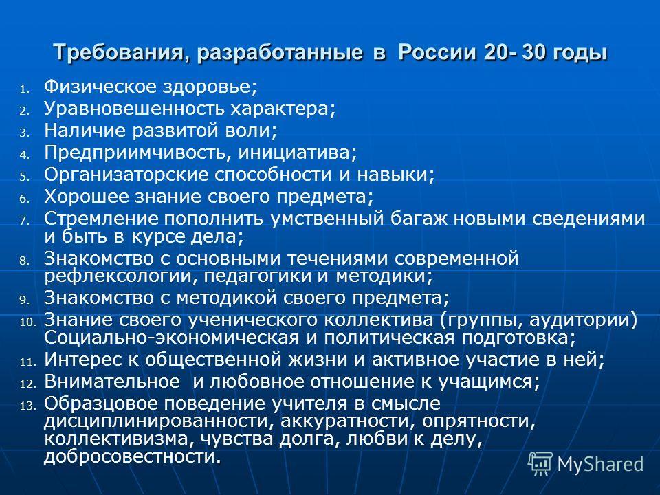 Требования, разработанные в России 20- 30 годы 1. 1. Физическое здоровье; 2. 2. Уравновешенность характера; 3. 3. Наличие развитой воли; 4. 4. Предприимчивость, инициатива; 5. 5. Организаторские способности и навыки; 6. 6. Хорошее знание своего предм