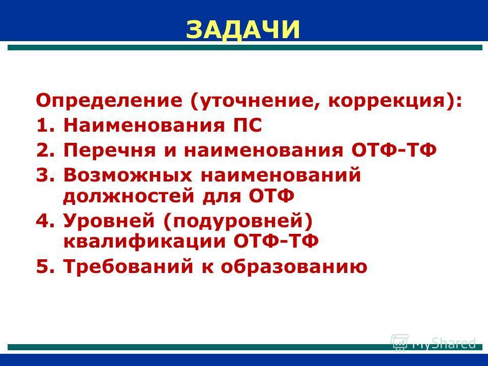 Определение (уточнение, коррекция): 1.Наименования ПС 2.Перечня и наименования ОТФ-ТФ 3.Возможных наименований должностей для ОТФ 4.Уровней (подуровней) квалификации ОТФ-ТФ 5.Требований к образованию ЗАДАЧИ
