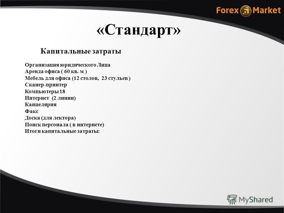 Организация юридического Лица Аренда офиса ( 60 кв. м ) Мебель для офиса (12 столов, 23 стульев ) Сканер-принтер Компьютеры 18 Интернет (2 линии) Канцелярия Факс Доска (для лектора) Поиск персонала ( в интернете) Итоги капитальные затраты: Капитальны