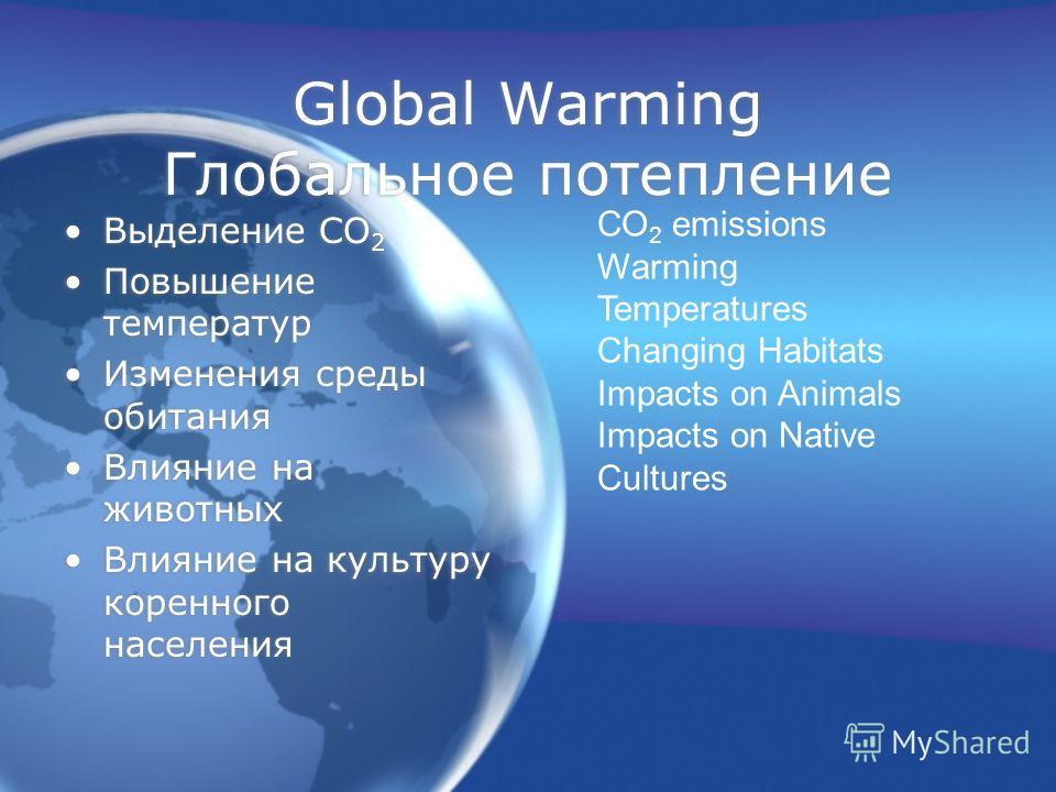 Global Warming Глобальное потепление Выделение СО 2 Повышение температур Изменения среды обитания Влияние на животных Влияние на культуру коренного населения Выделение СО 2 Повышение температур Изменения среды обитания Влияние на животных Влияние на