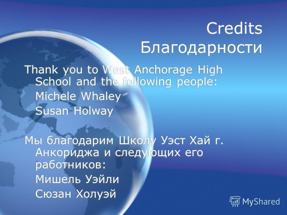 Credits Благодарности Thank you to West Anchorage High School and the following people: Michele Whaley Susan Holway Мы благодарим Школу Уэст Хай г. Анкориджа и следующих его работников: Мишель Уэйли Сюзан Холуэй Thank you to West Anchorage High Schoo