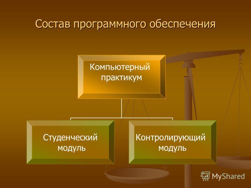 Компьютерный практикум Студенческий модуль Контролирующий модуль Состав программного обеспечения