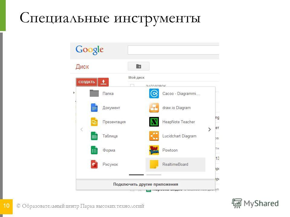 © Образовательный центр Парка высоких технологий Специальные инструменты 10