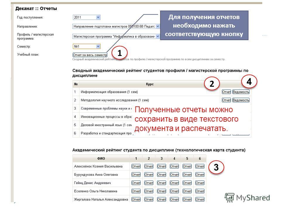 Для получения отчетов необходимо нажать соответствующую кнопку Полученные отчеты можно сохранить в виде текстового документа и распечатать. 3 3 1 1 2 2 4 4