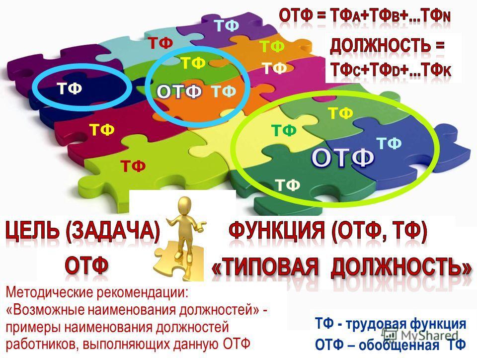 ТФ ТФ - трудовая функция ОТФ – обобщенная ТФ Методические рекомендации: «Возможные наименования должностей» - примеры наименования должностей работников, выполняющих данную ОТФ