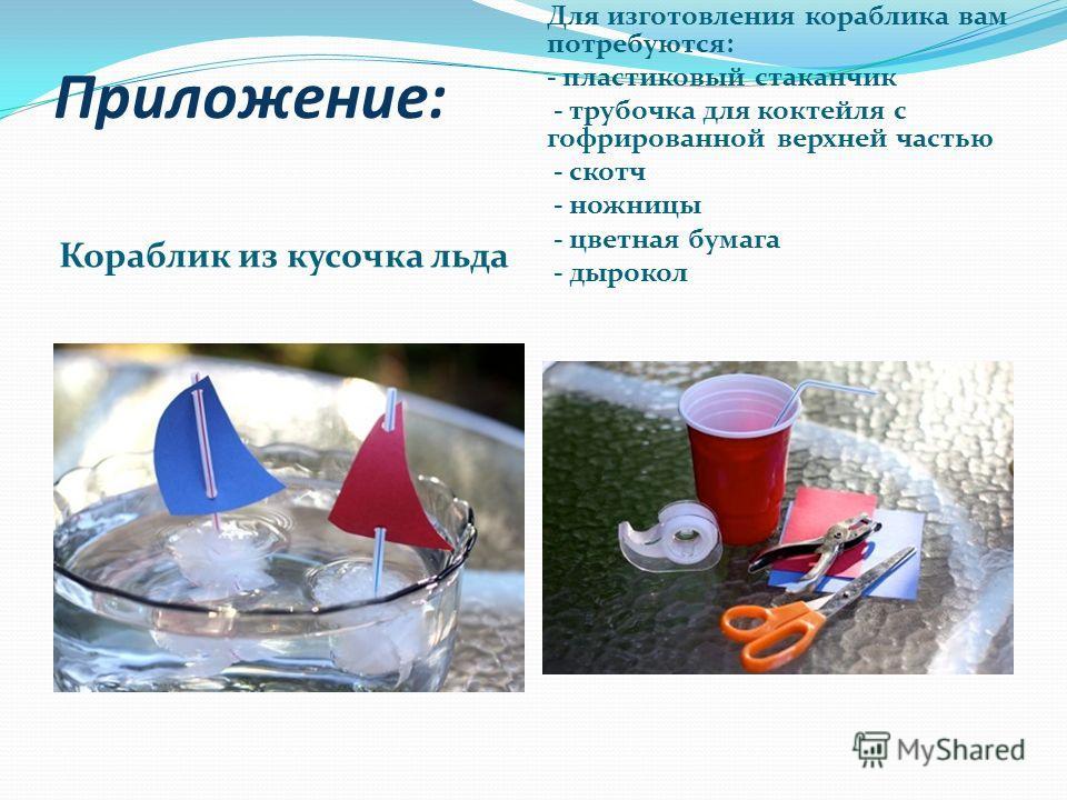 Приложение: Кораблик из кусочка льда Для изготовления кораблика вам потребуются: - пластиковый стаканчик - трубочка для коктейля с гофрированной верхней частью - скотч - ножницы - цветная бумага - дырокол