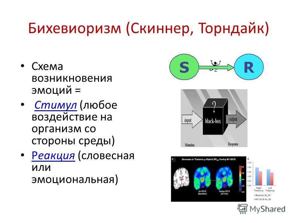 Бихевиоризм (Скиннер, Торндайк) Схема возникновения эмоций = Стимул (любое воздействие на организм со стороны среды)Стимул Реакция (словесная или эмоциональная) Реакция