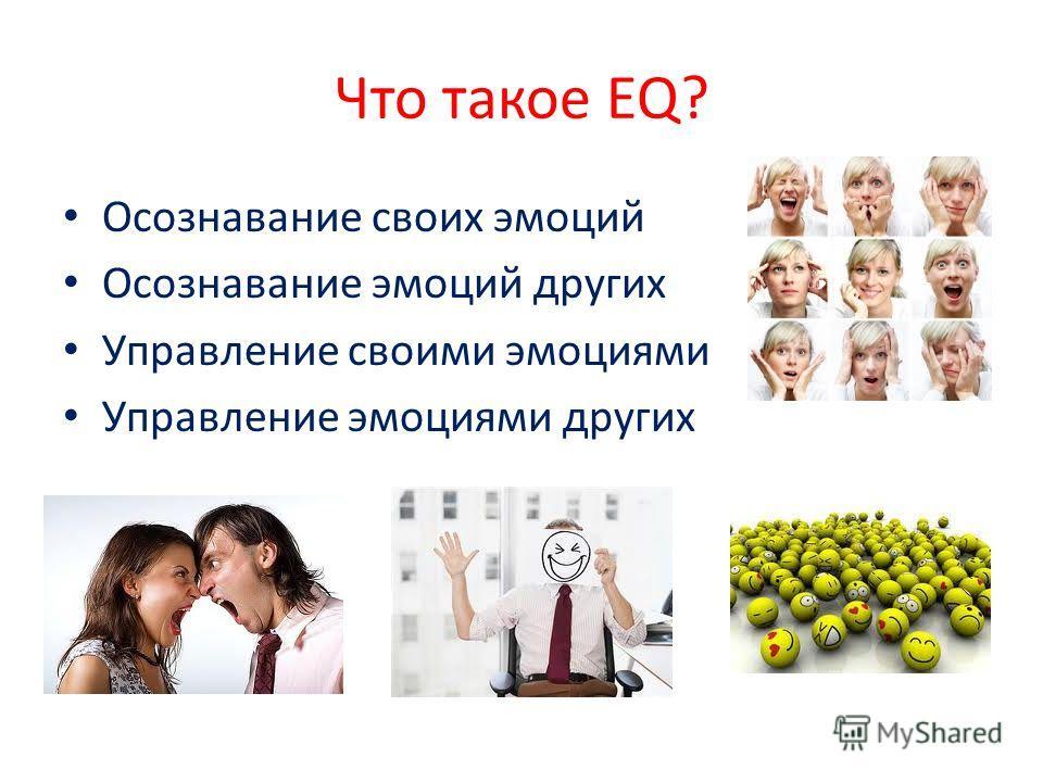 Что такое EQ? Осознавание своих эмоций Осознавание эмоций других Управление своими эмоциями Управление эмоциями других