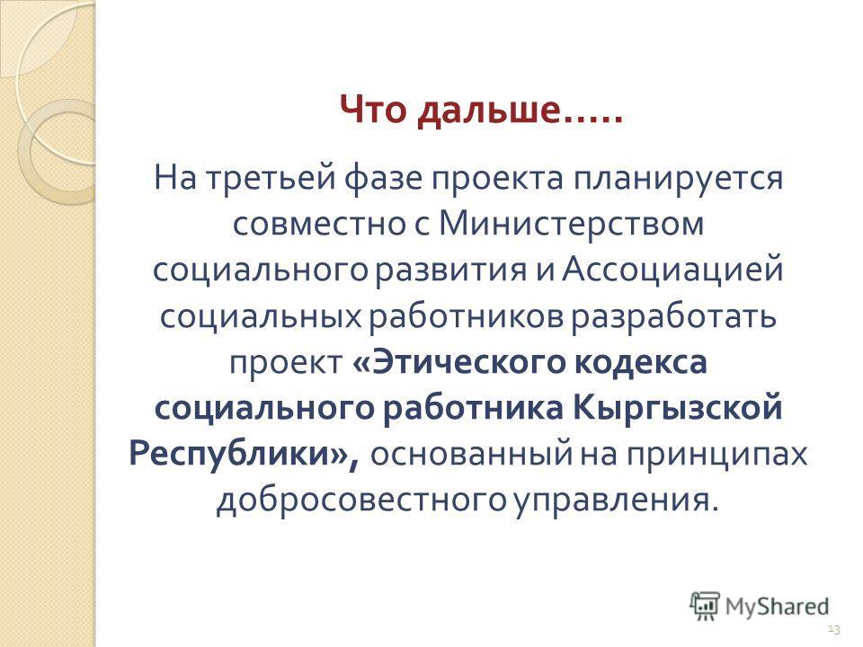 Что дальше ….. 13 На третьей фазе проекта планируется совместно с Министерством социального развития и Ассоциацией социальных работников разработать проект « Этического кодекса социального работника Кыргызской Республики », основанный на принципах до