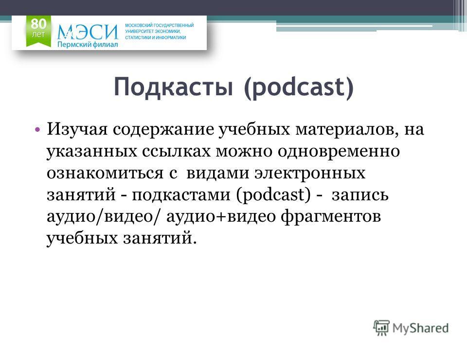Подкасты (podcast) Изучая содержание учебных материалов, на указанных ссылках можно одновременно ознакомиться с видами электронных занятий - подкастами (podcast) - запись аудио/видео/ аудио+видео фрагментов учебных занятий. 20