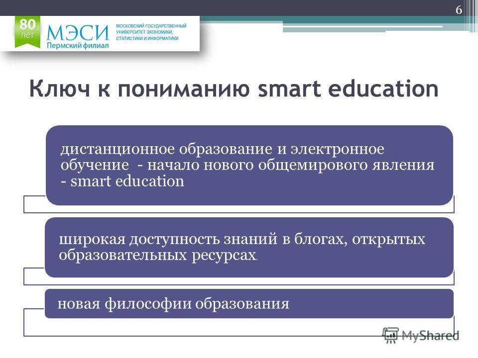 Ключ к пониманию smart education дистанционное образование и электронное обучение - начало нового общемирового явления - smart education широкая доступность знаний в блогах, открытых образовательных ресурсах. новая философии образования 6