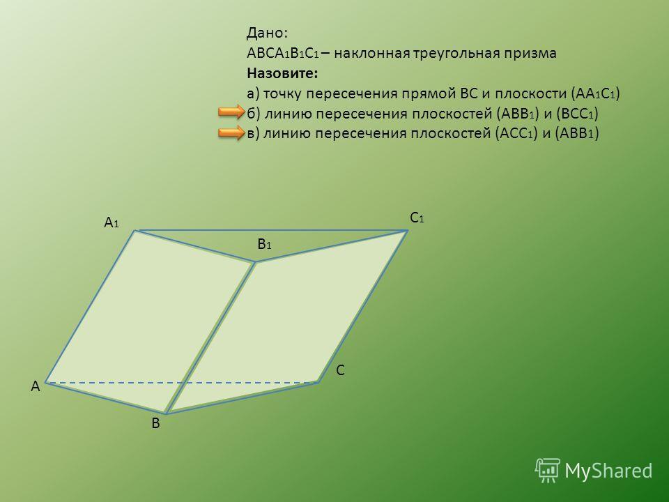 Дано: ABCA 1 B 1 C 1 – наклонная треугольная призма Назовите: а) точку пересечения прямой BC и плоскости (AA 1 C 1 ) б) линию пересечения плоскостей (ABB 1 ) и (BCC 1 ) в) линию пересечения плоскостей (ACC 1 ) и (ABB 1 ) A B C A1A1 B 1 C1C1