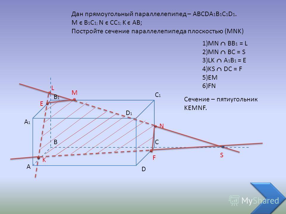 A BC D A1A1 C1C1 D1D1 Дан прямоугольный параллелепипед – ABCDA 1 B 1 C 1 D 1. M є B 1 C 1; N є CC 1; K є AB; Постройте сечение параллелепипеда плоскостью (MNK) M N K L S B1B1 E F 1)MN BB 1 = L 2)MN BC = S 3)LK A 1 B 1 = E 4)KS DC = F 5)EM 6)FN Сечени