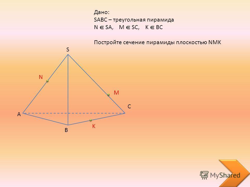 A B C S Дано: SABC – треугольная пирамида N SA, M SC, K BC Постройте сечение пирамиды плоскостью NMK N M K
