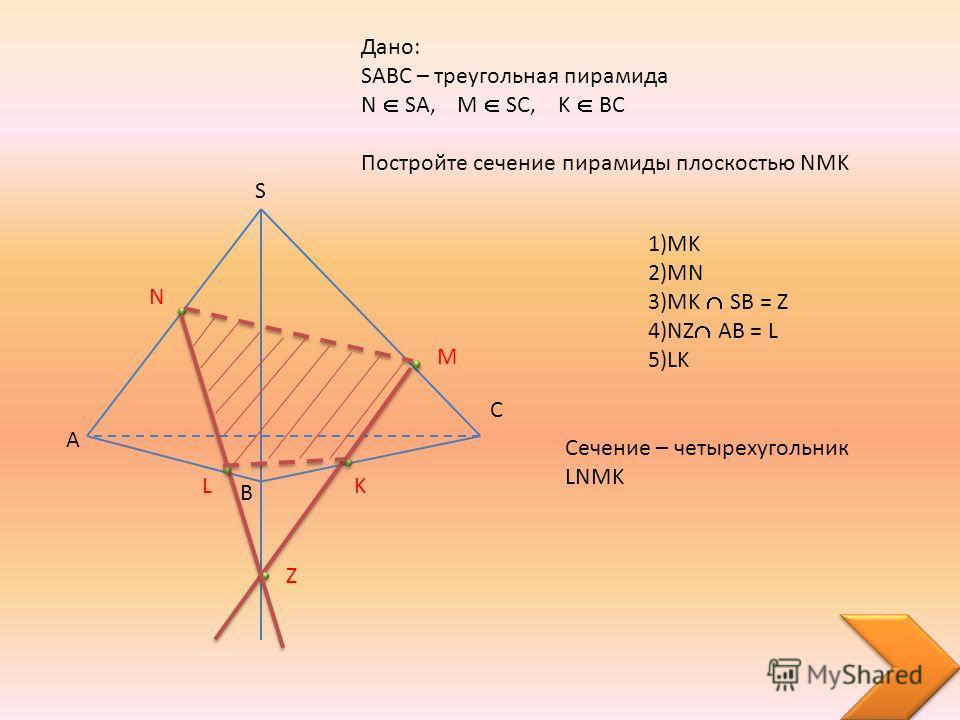 A B C S Дано: SABC – треугольная пирамида N SA, M SC, K BC Постройте сечение пирамиды плоскостью NMK N M K Z L 1)MK 2)MN 3)MK S B = Z 4)NZ AB = L 5)LK Сечение – четырехугольник LNMK