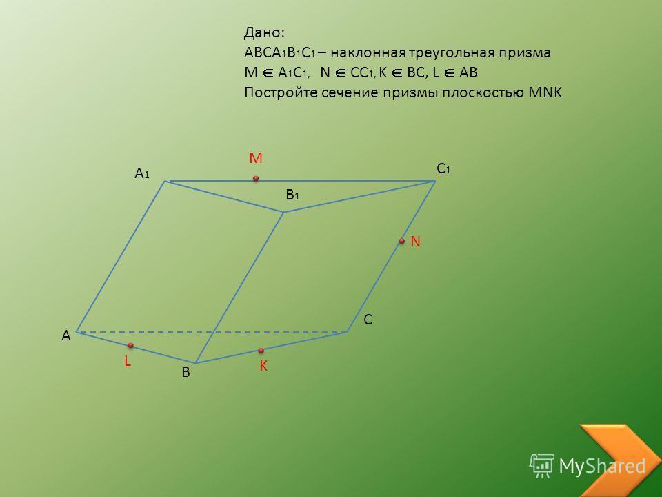 Дано: ABCA 1 B 1 C 1 – наклонная треугольная призма M A 1 C 1, N CC 1, K BC, L AB Постройте сечение призмы плоскостью MNK A B C A1A1 B1B1 C1C1 M N K L