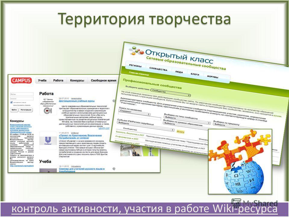 Территория творчества контроль активности, участия в работе Wiki-ресурса контроль активности, участия в работе Wiki-ресурса