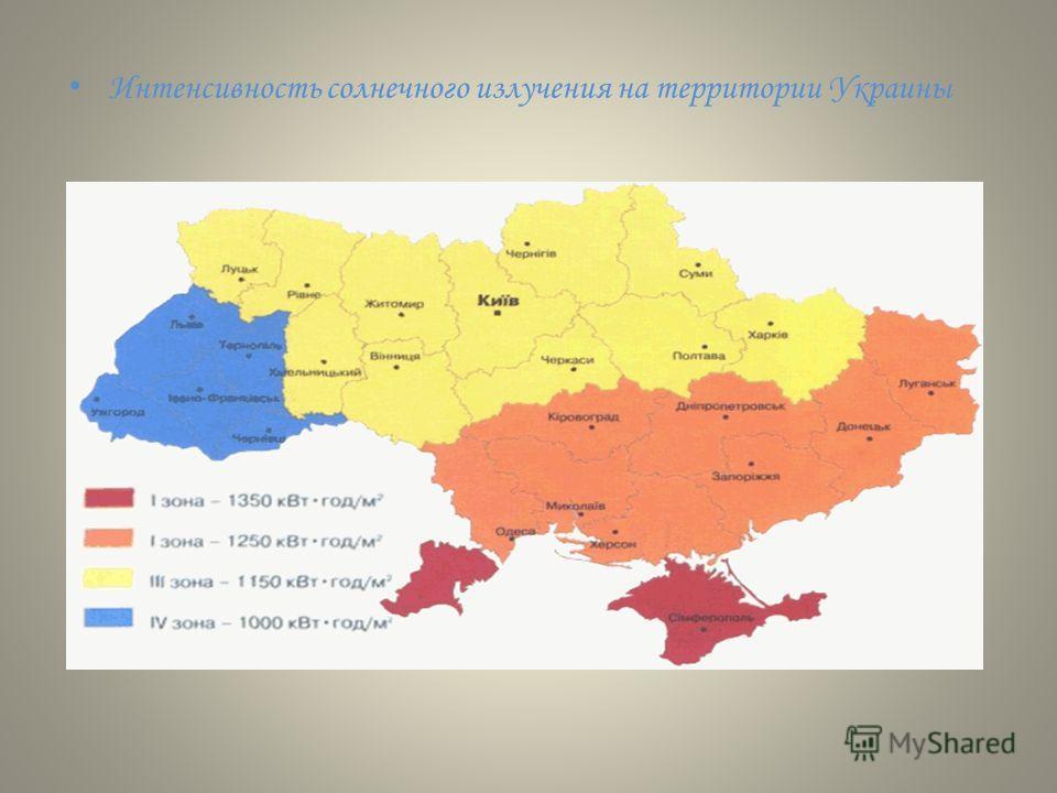 Интенсивность солнечного излучения на территории Украины