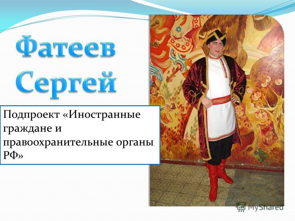 Подпроект «Иностранные граждане и правоохранительные органы РФ»