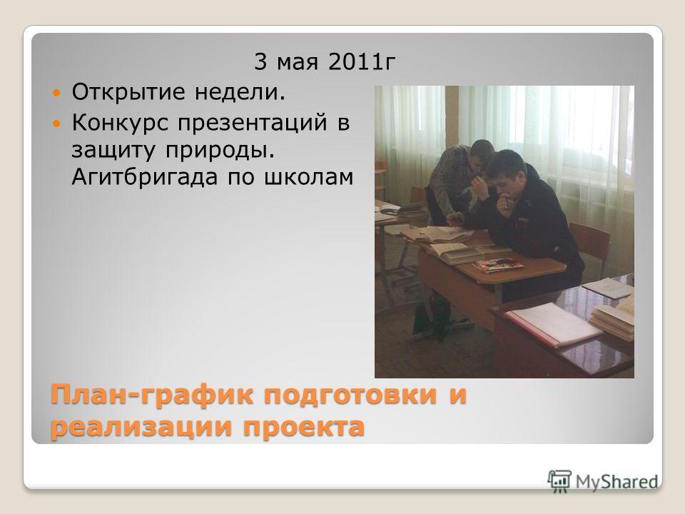 План-график подготовки и реализации проекта 3 мая 2011г Открытие недели. Конкурс презентаций в защиту природы. Агитбригада по школам