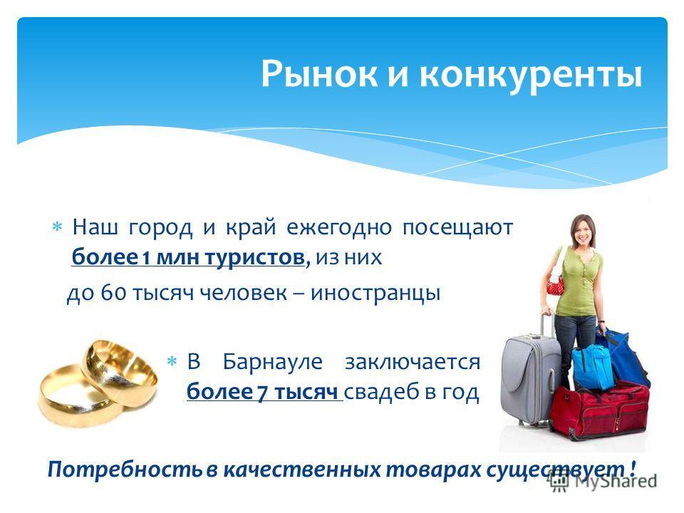 Рынок и конкуренты Потребность в качественных товарах существует ! Наш город и край ежегодно посещают более 1 млн туристов, из них до 60 тысяч человек – иностранцы В Барнауле заключается более 7 тысяч свадеб в год