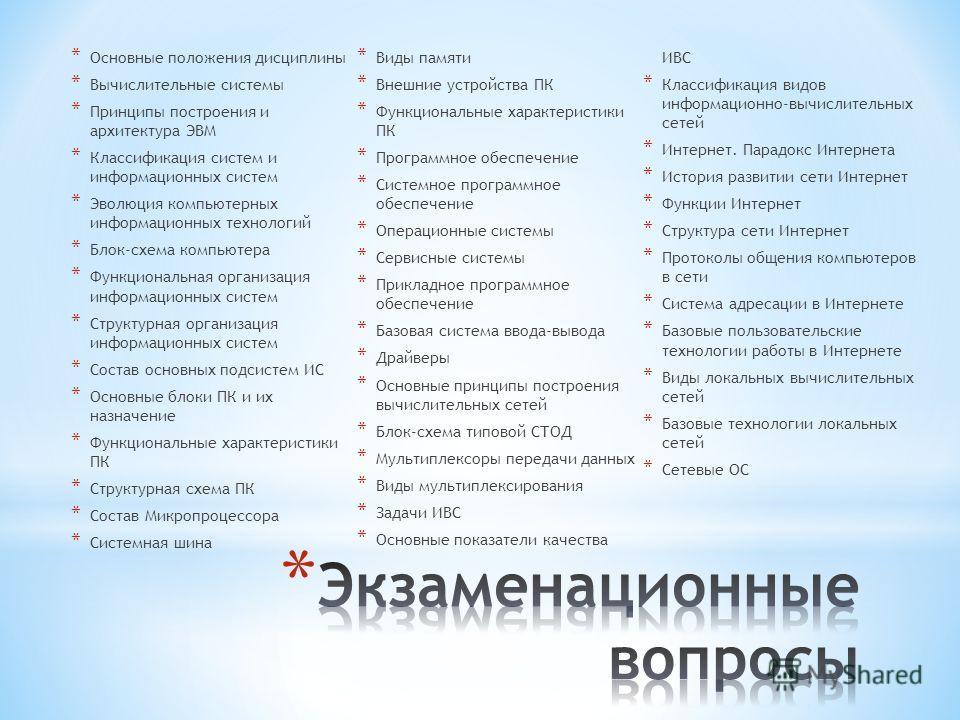 * Основные положения дисциплины * Вычислительные системы * Принципы построения и архитектура ЭВМ * Классификация систем и информационных систем * Эволюция компьютерных информационных технологий * Блок-схема компьютера * Функциональная организация инф