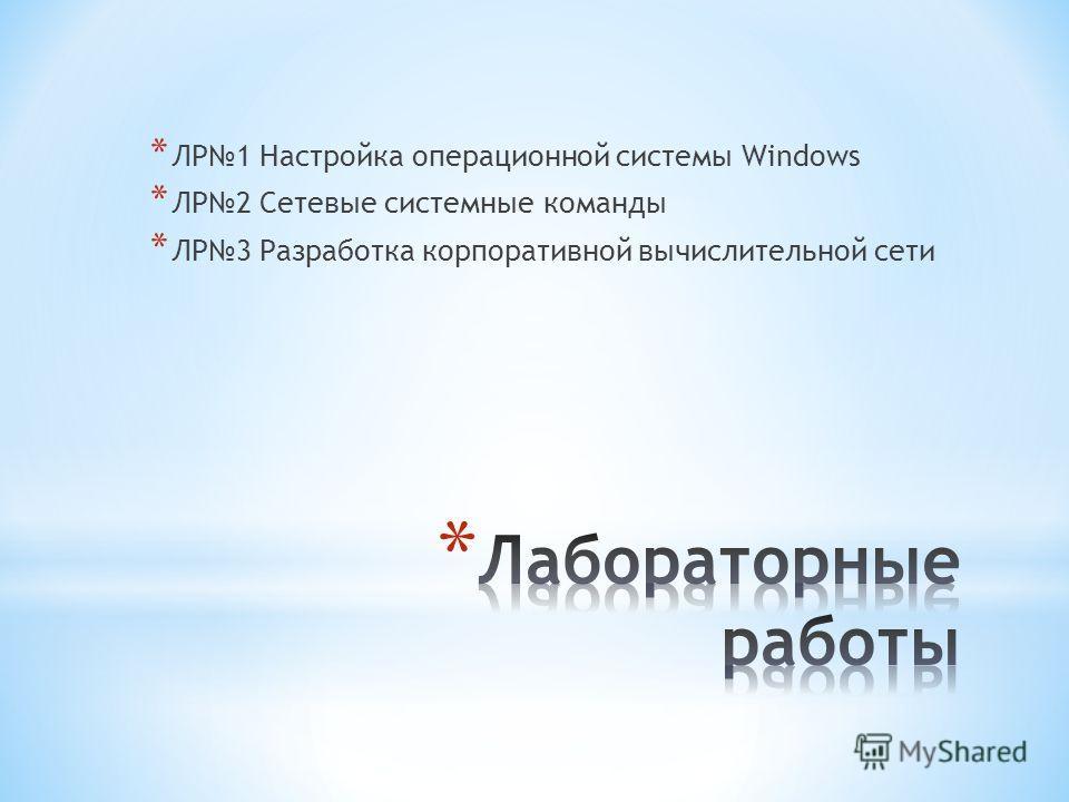 * ЛР1 Настройка операционной системы Windows * ЛР2 Сетевые системные команды * ЛР3 Разработка корпоративной вычислительной сети