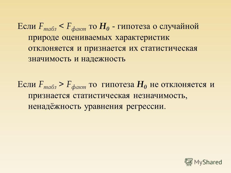 Если F табл < F факт то H 0 - гипотеза о случайной природе оцениваемых характеристик отклоняется и признается их статистическая значимость и надежность Если F табл > F факт то гипотеза H 0 не отклоняется и признается статистическая незначимость, нена