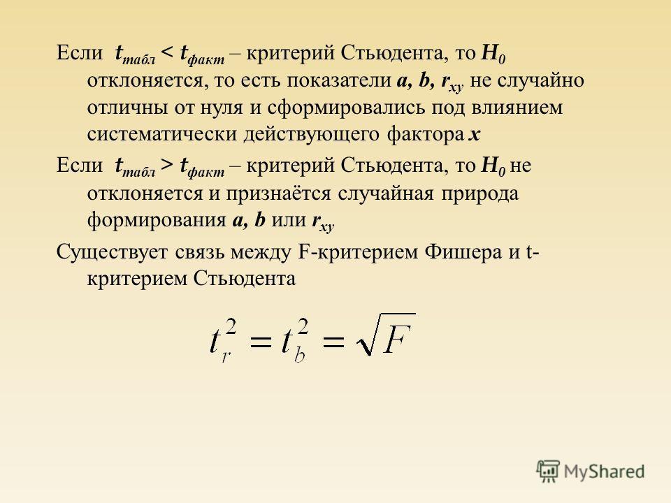 Если t табл < t факт – критерий Стьюдента, то H 0 отклоняется, то есть показатели a, b, r xy не случайно отличны от нуля и сформировались под влиянием систематически действующего фактора x Если t табл > t факт – критерий Стьюдента, то H 0 не отклоняе
