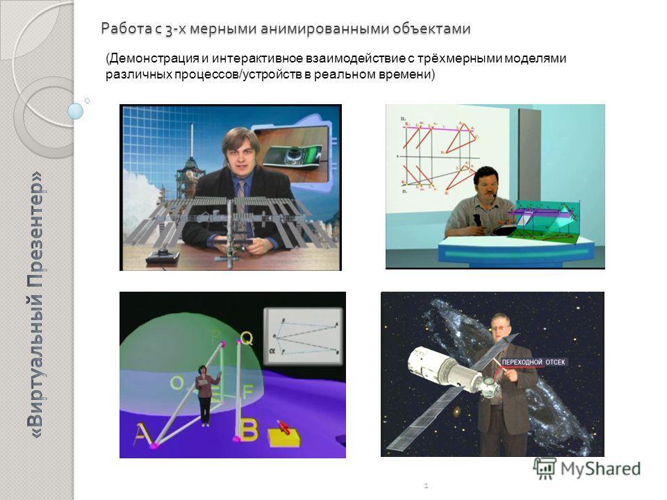 Работа с 3- х мерными анимированными объектами 1 (Демонстрация и интерактивное взаимодействие с трёхмерными моделями различных процессов/устройств в реальном времени)