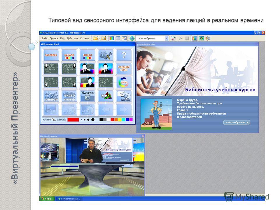 Типовой вид сенсорного интерфейса для ведения лекций в реальном времени